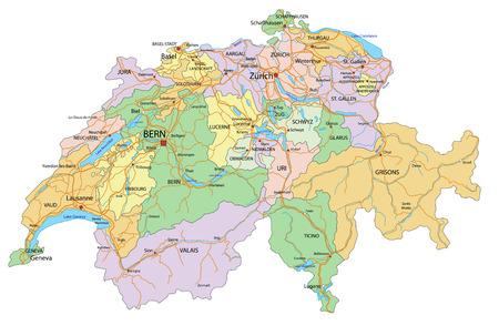 Suiza: mapa político altamente detallado y editable con etiquetado.