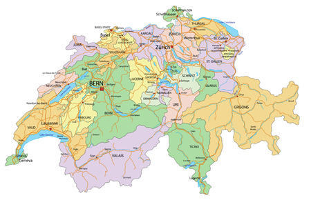 Switzerland - Highly detailed, editable political map with labeling.