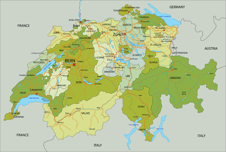 Highly detailed, editable political map with separated layers. Switzerland. Vector Illustratie