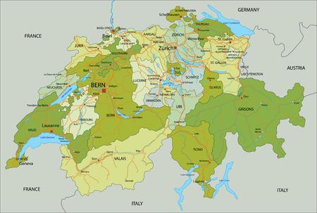 Sehr detaillierte, bearbeitbare politische Karte mit getrennten Ebenen. Schweiz. Vektorgrafik