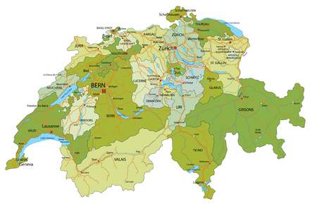 Highly detailed, editable political map with separated layers. Switzerland.