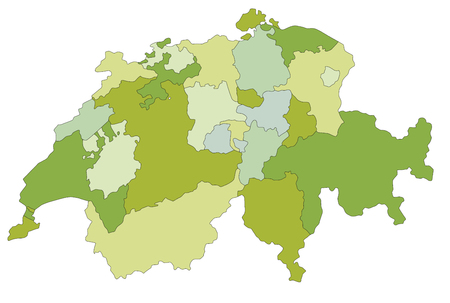 Highly detailed, editable political map with separated layers. Switzerland. Illusztráció