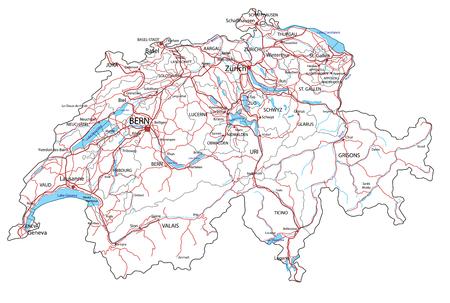 Straßen- und Autobahnkarte der Schweiz. Vektor-Illustration.