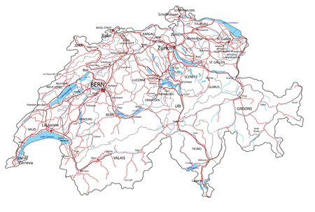 Switzerland road and highway map. Vector illustration.