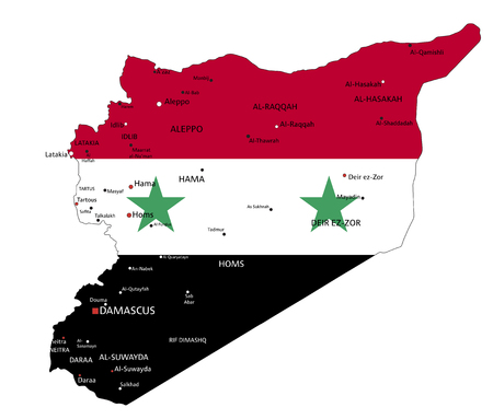 Syria highly detailed political map with national flag.