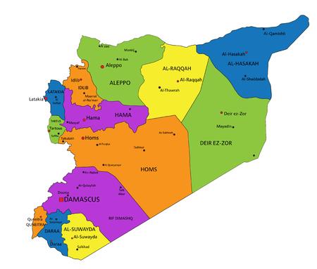 Carte politique colorée de la Syrie avec des couches clairement étiquetées et séparées. Illustration vectorielle.