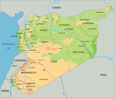 Carte physique très détaillée de la Syrie avec étiquetage. Vecteurs