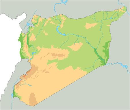 Carte physique très détaillée de la Syrie.