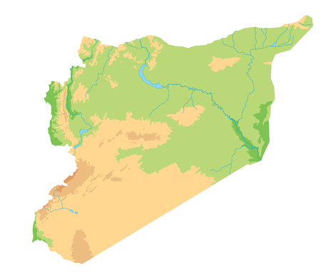 High detailed Syria physical map.