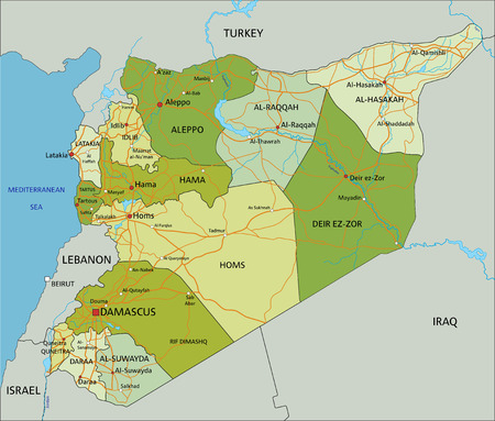 Highly detailed editable political map with separated layers. Syria. Ilustración de vector