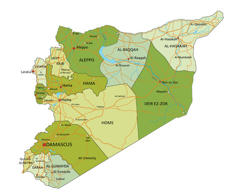 Highly detailed editable political map with separated layers. Syria.