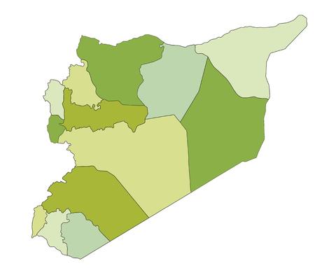 Carte politique modifiable très détaillée avec des couches séparées. Syrie. Vecteurs