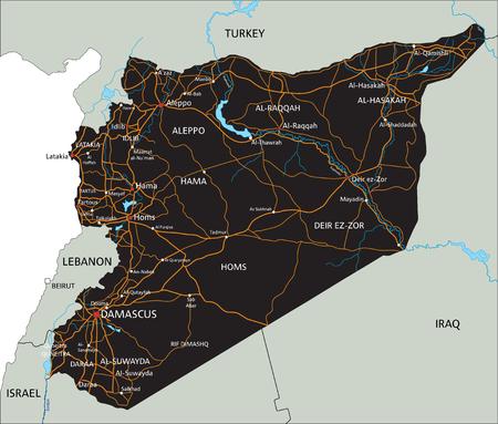 Alta hoja de ruta detallada de Siria con etiquetado.