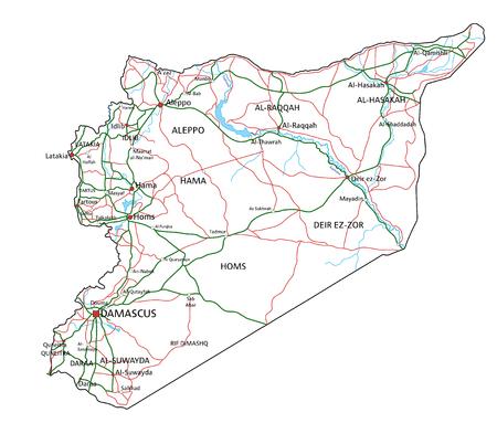 Carte des routes et des autoroutes de la Syrie. Illustration vectorielle. Vecteurs