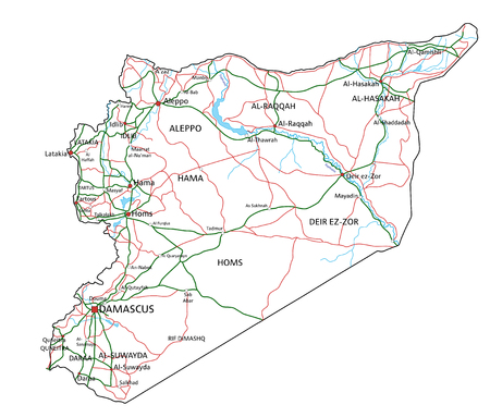 Syria road and highway map. Vector illustration. Illustration