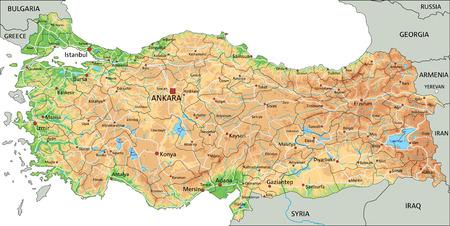 Carte physique très détaillée de la Turquie avec étiquetage.