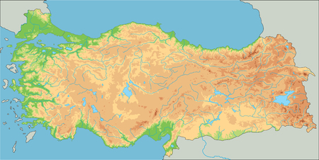 High detailed Turkey physical map. Vetores