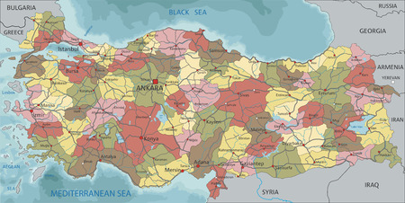 Turkey - Highly detailed editable political map with labeling.