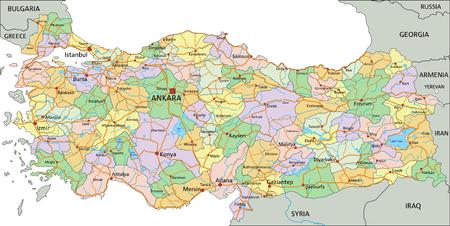 Turkey - Highly detailed editable political map with labeling. Ilustración de vector