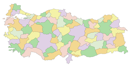 Turkey - Highly detailed editable political map. Illustration