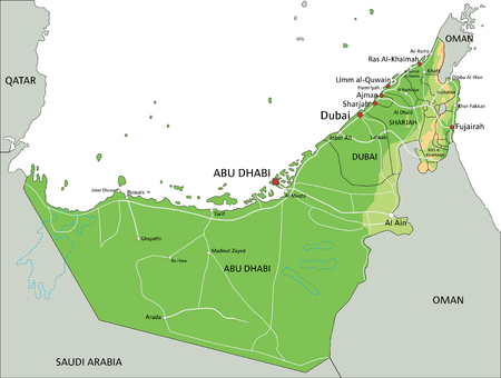High detailed United Arab Emirates physical map with labeling. Stock Illustratie