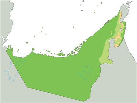 High detailed United Arab Emirates physical map.