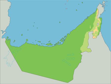 High detailed United Arab Emirates physical map.
