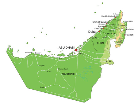 High detailed United Arab Emirates physical map with labeling. Ilustração