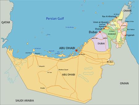 Vereinigte Arabische Emirate - Sehr detaillierte bearbeitbare politische Karte mit Beschriftung. Vektorgrafik