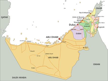 Vereinigte Arabische Emirate - Sehr detaillierte bearbeitbare politische Karte mit Beschriftung.