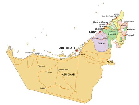 United Arab Emirates - Highly detailed editable political map with labeling. Foto de archivo - 122716450