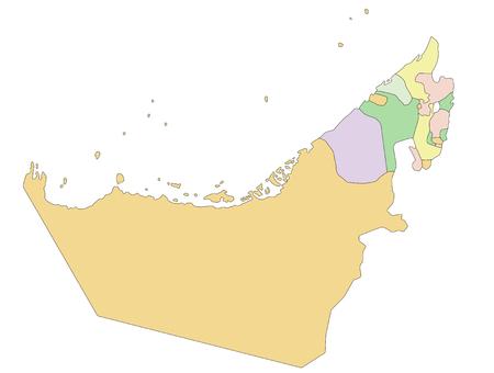 United Arab Emirates - Highly detailed editable political map. Illustration