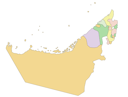 United Arab Emirates - Highly detailed editable political map. Ilustração