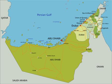 Mapa político editable muy detallado con capas separadas. Emiratos Árabes Unidos.