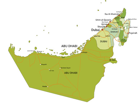 Highly detailed editable political map with separated layers.United Arab Emirates. Foto de archivo - 122716453