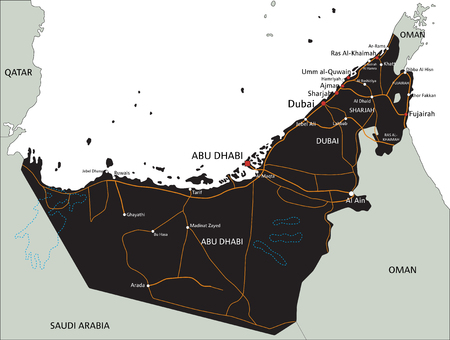 High detailed United Arab Emirates road map with labeling.