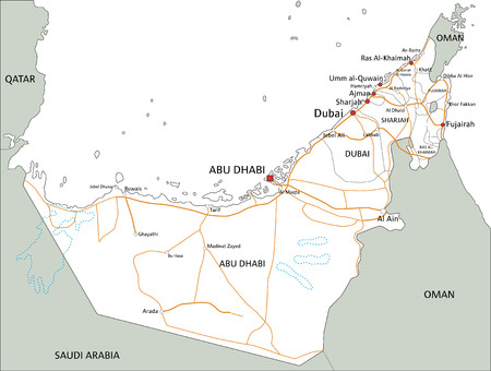 High detailed United Arab Emirates road map with labeling. Foto de archivo - 122716457