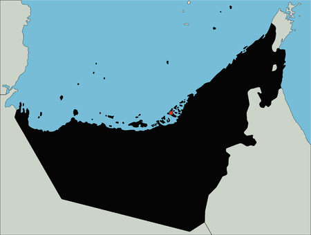 Highly Detailed United Arab Emirates Silhouette map.