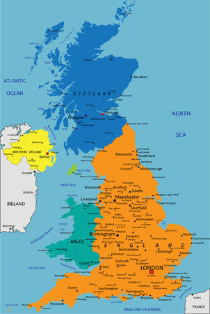 Colorful United Kingdom political map with clearly labeled, separated layers. Vector illustration. Foto de archivo - 122716463