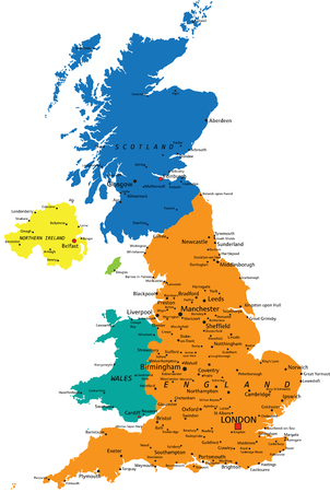 Colorful United Kingdom political map with clearly labeled, separated layers. Vector illustration.