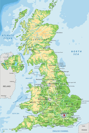 Alto mapa físico detallado de Reino Unido con etiquetado.