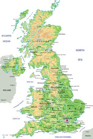 High detailed United Kingdom physical map with labeling.