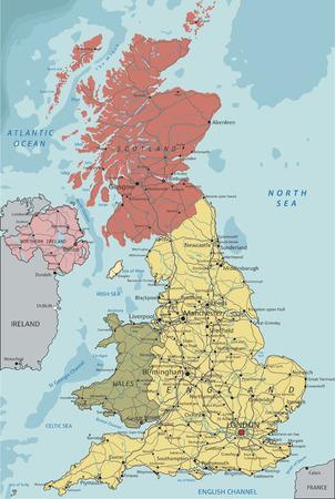 Detailed UK political map. Illustration