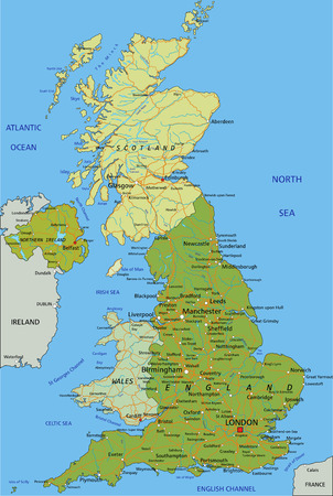 Highly detailed editable political map with separated layers. United Kingdom. Çizim
