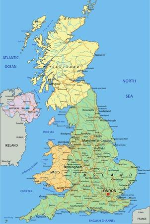 Reino Unido: mapa político editable muy detallado con capas separadas. Ilustración de vector