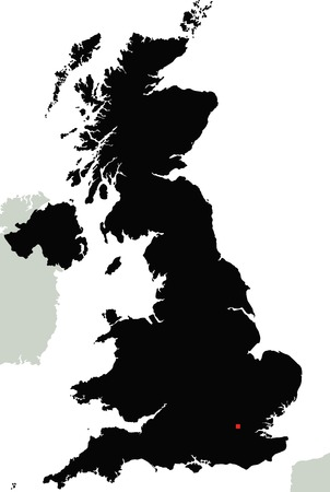 Highly Detailed United Kingdom Silhouette map.