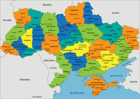 Colorful Ukraine political map with clearly labeled, separated layers. Vector illustration.