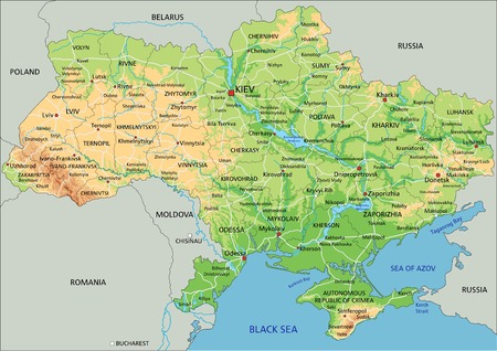 High detailed Ukraine physical map with labeling. Illustration