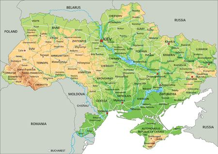 High detailed Ukraine physical map with labeling. Ilustração
