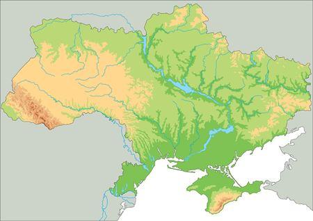 High detailed Ukraine physical map Foto de archivo - 122716503